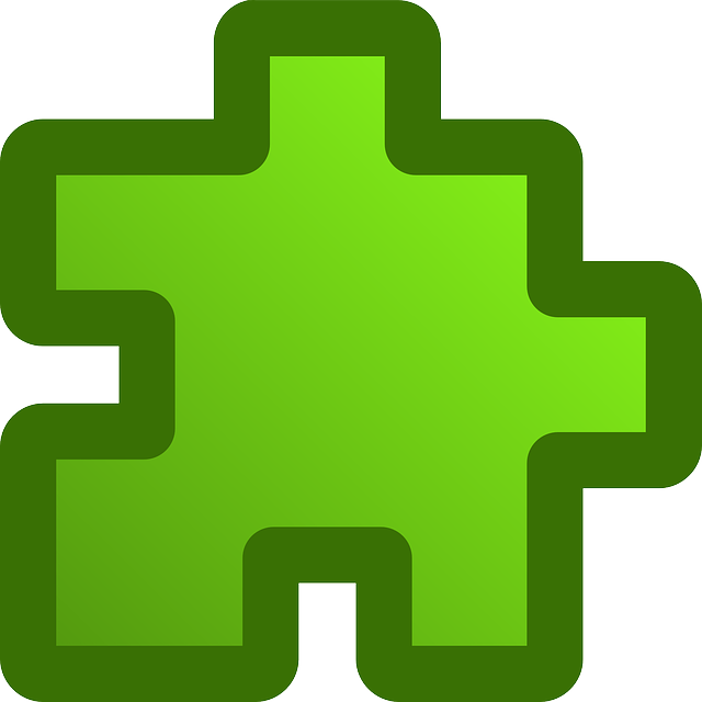 green, flat, icon, puzzle, piece