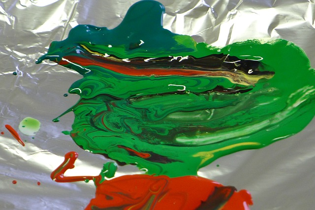 green, red, color, paint, colorful, acrylic paint