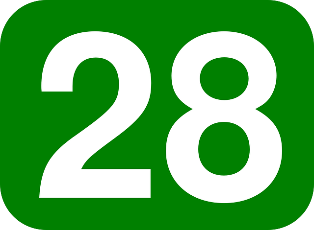 green, white, number, rounded, rectangle, 28, round