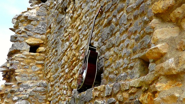 guitar, and, wall, instrument, guitars, acoustic