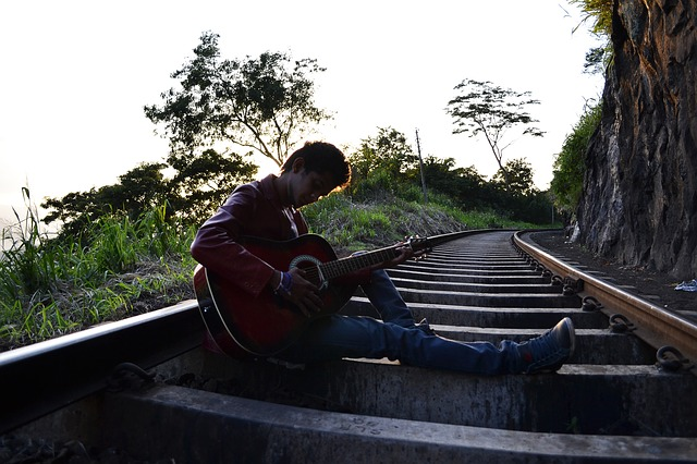 guitarist, boy, pose, scene, song, lyrics, singer