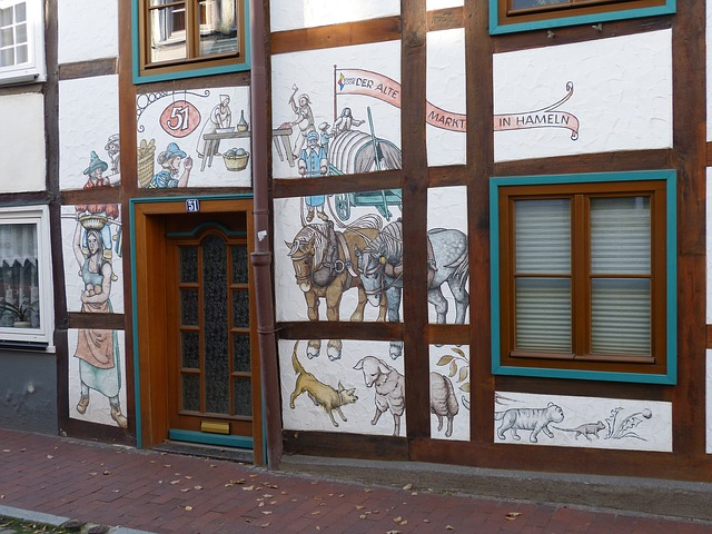 hamelin, building, drawing, mural, old town, truss