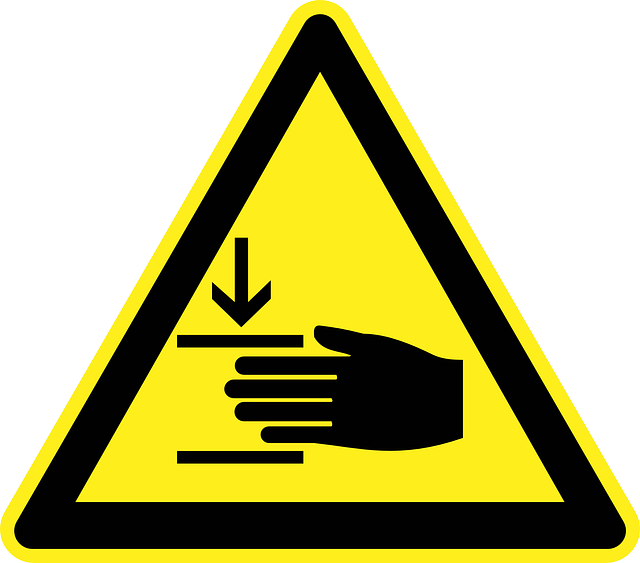 hand, injury, crushing, danger, warning, yellow, sign