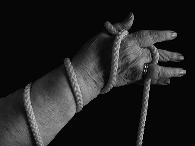 hand, rope, caught, bound, woman, old, age, fear, care