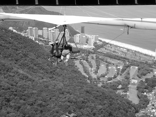 hang gliding, black and white, landscape, adventure