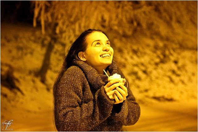 happy, smiling, girl, cold, night, winter, coffee, cup