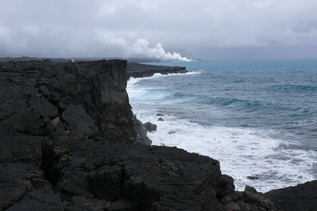 hawaii, national parka, volcano, nature, lava, ocean
