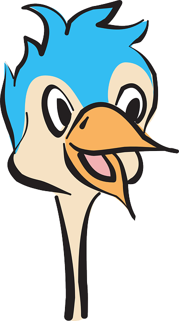 head, blue, happy, bird, ostrich, beak, smile, feathers