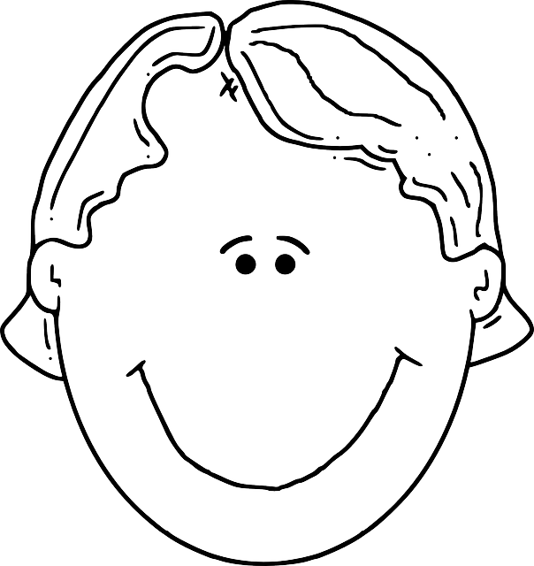 head, part, outline, people, boy, happy, kid, girl