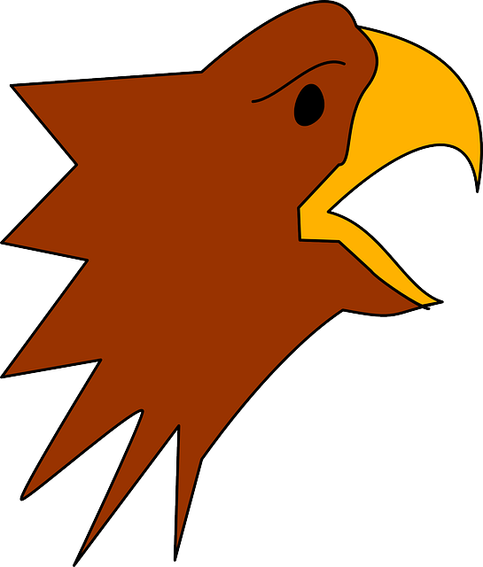 head, simple, cartoon, eagle, style, art, beak