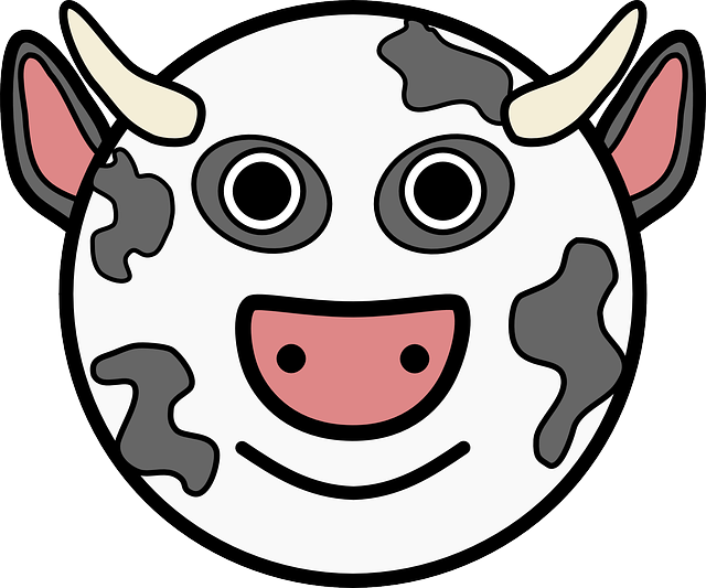 head, simple, face, circle, barn, farm, cow, horns