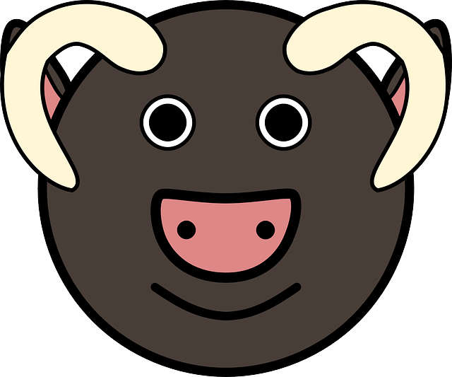 head, simple, face, circle, bull, art, horns, animal