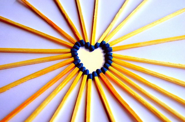 heart, matches, match, blue, background, wood, sulfur
