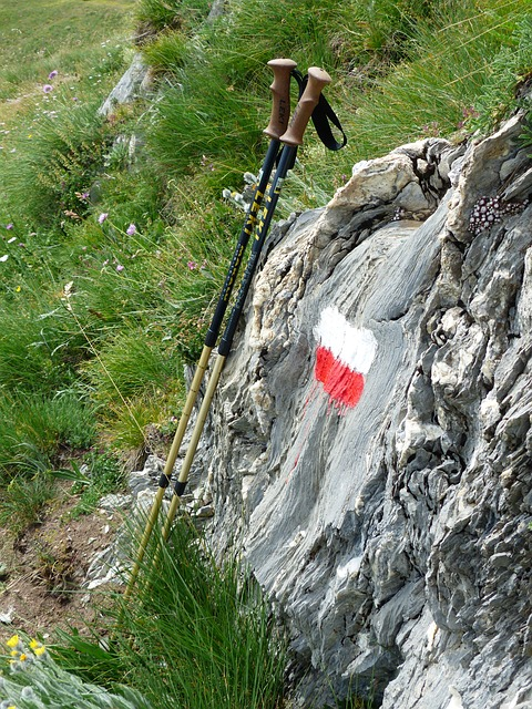 hiking poles, signpost, characters, red, white, sticks
