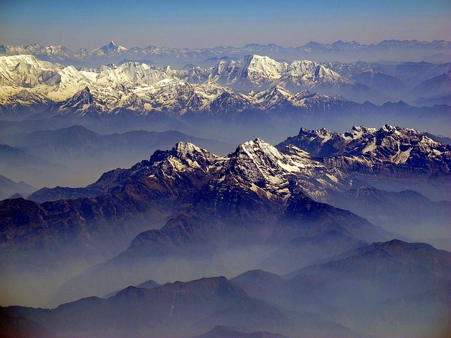 himalayas, mountains, landscape, vista, sky, clouds