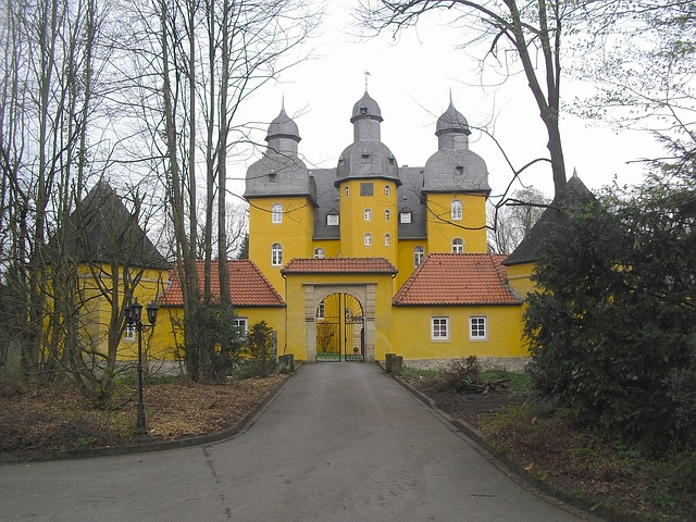holte, palace, germany, structure, sky, clouds, house