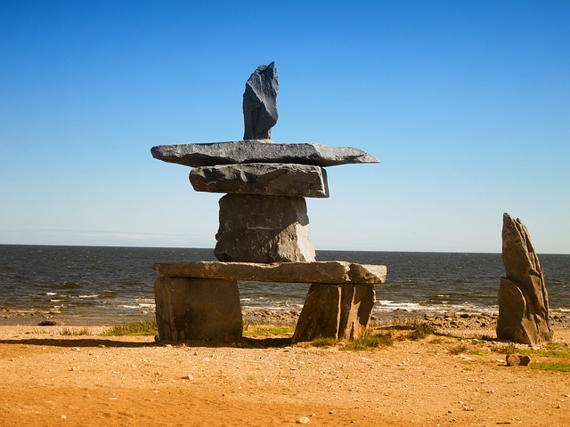 hudson bay, canada, rocks, stacked sculpture, sky