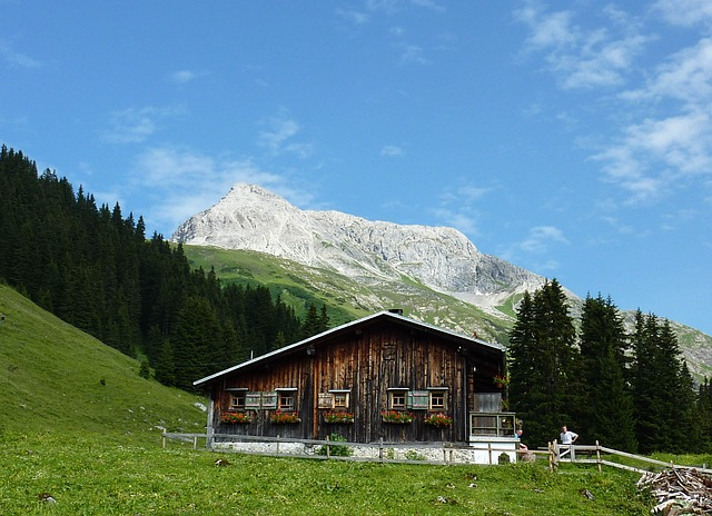 hut, landscape, meadow, mountains, nature, green