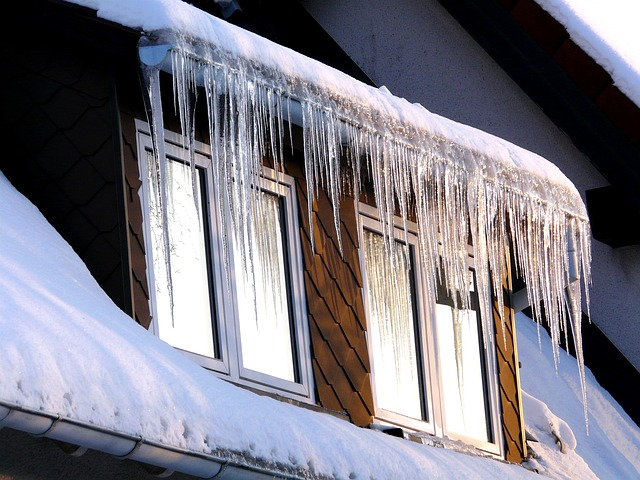 ice, icicle, cold, winter, window, roof, white, frost