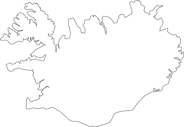iceland, country, simple, geography, outline, europe