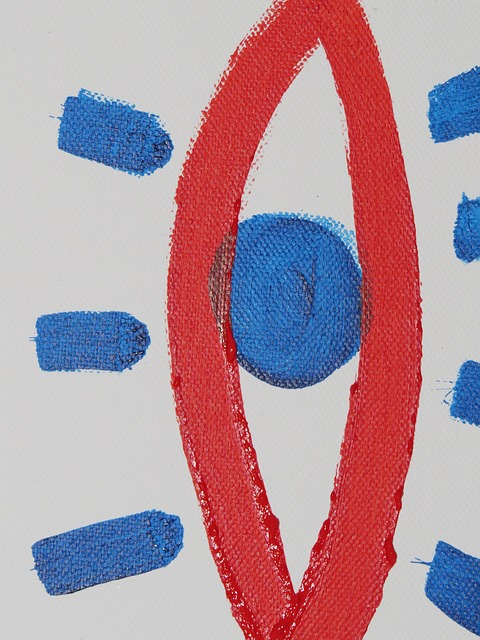 image, paint, painting, eye, red, blue, abstract, art