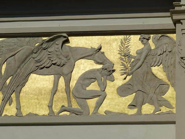 image, relief, antiquity, temple, mythology, horse