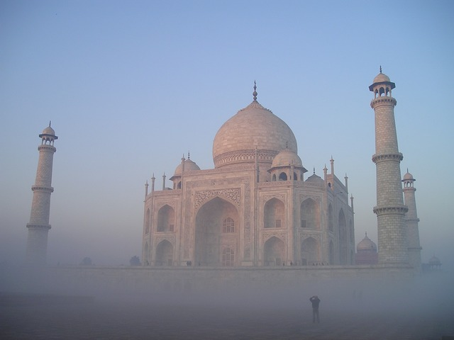india, taj, mahal, agra, temple, tomb, grave, fog