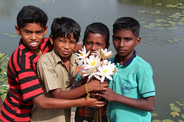 indians, children, guys, india, young people, flowers
