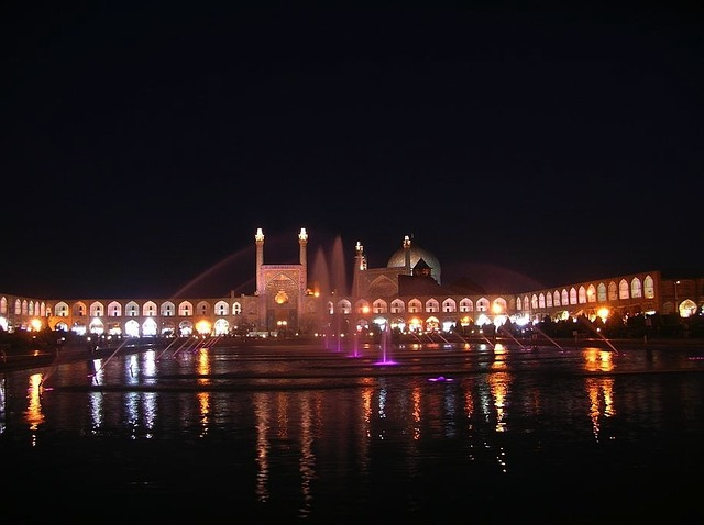 iran, mosque, water, night, evening, reflections