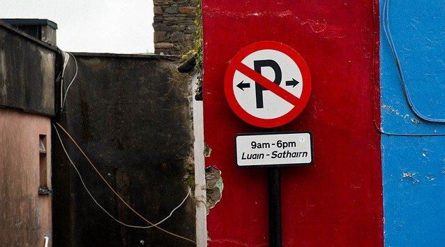 ireland, dingle, parking sign, red, blue