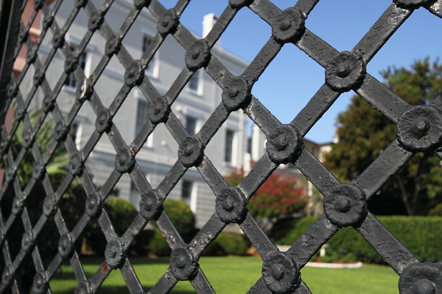 iron gate, fence, metal, architecture
