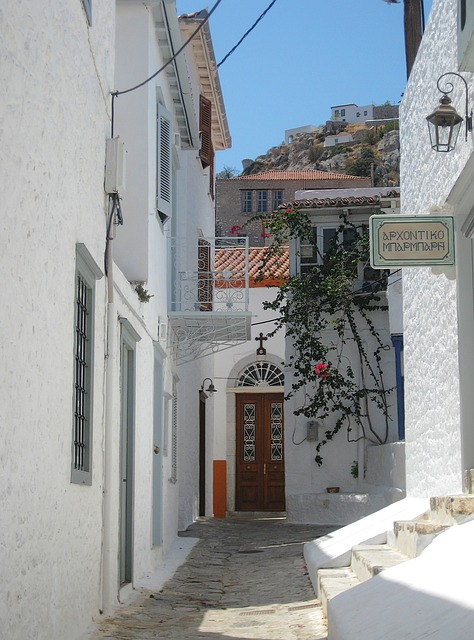 island, of, hydra, alleyway, architecture, vacation