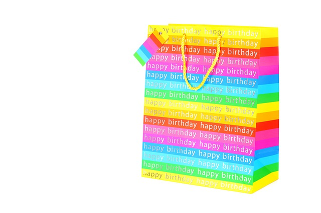 isolated, birthday, white, gift, bag, present, object