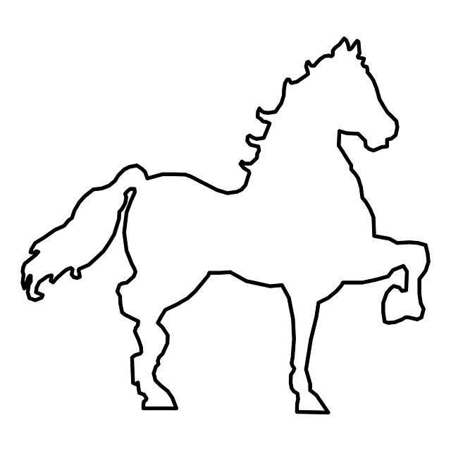 isolated, outlined, simple, horse, white, background