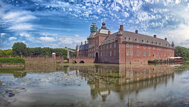 isselburg, germany, sky, clouds, anholt, landmark, pond