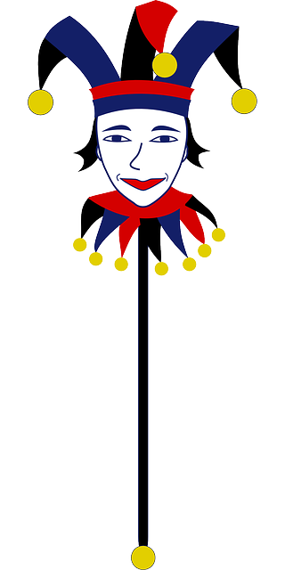 joker, clown, bauble, bells, fool, jester, puppet, rod