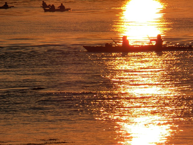 kayak, kayakers, kayaking, sunset, sunsets, sundown