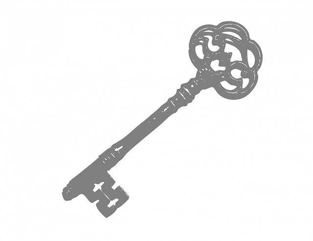 key, old, vintage, art, illustration, white, background