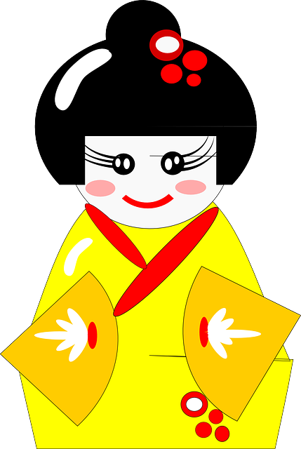 kimono, japanese, clothing, robe, yellow, woman, girl