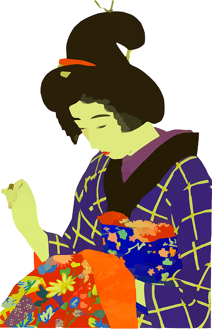lady, woman, japanese, sewing, cloths, clothing