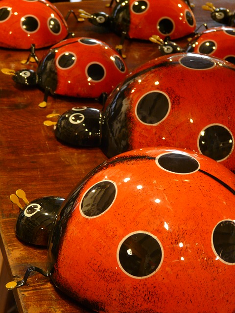 ladybug, pottery, ceramic, red, color, colorful, gaudy