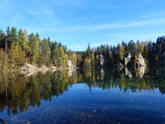 lake, adrspach, autumn, trees, water, travel, stones
