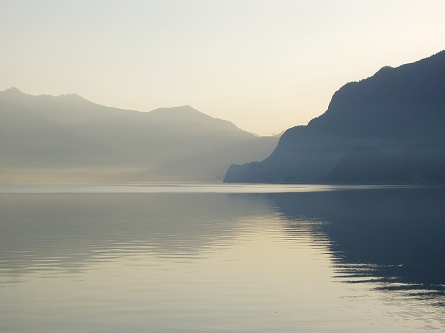 lake of brienz, haze, switzerland, mountains, alpine