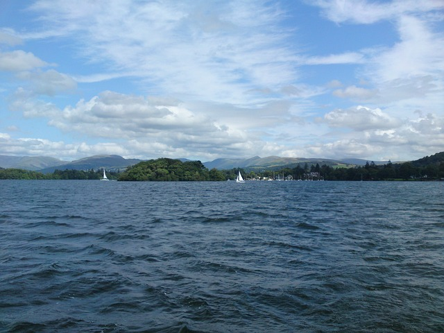 lake, sky, clouds, windermere, water
