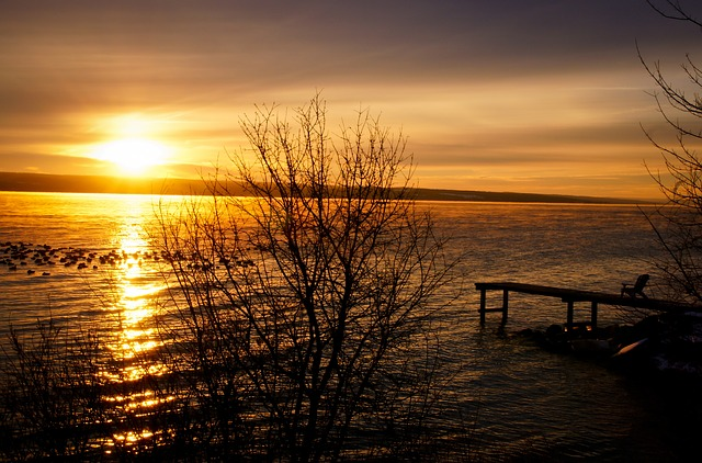 lake, sunset, peer, sea, dusk, dawn, twilight, romantic