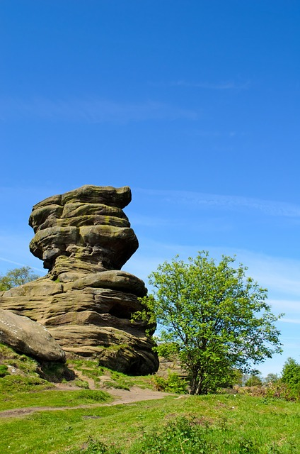 landscape, spring, rock, stone, wall, summer, england