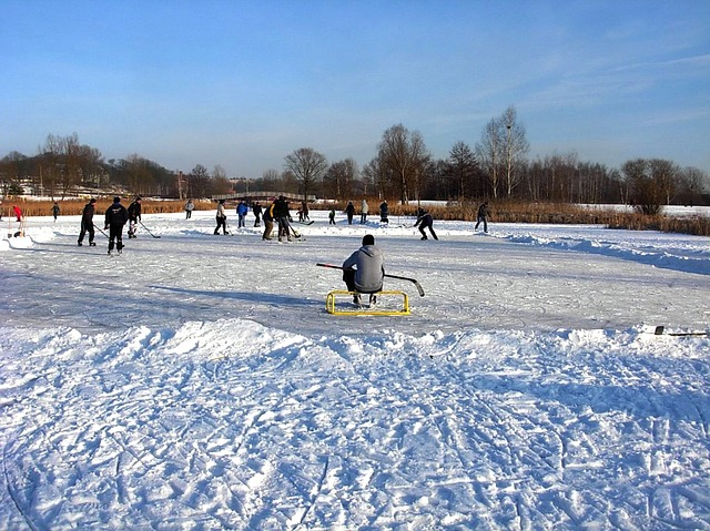 landscape, winter, snow, ice, boys, males, playing