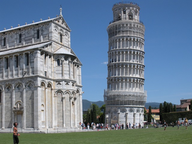 leaning tower of pisa, and, cathedral, italy
