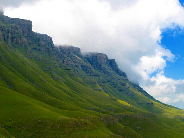 lesotho, mountains, scenic, green, south africa