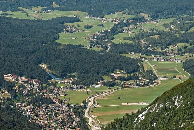 leutasch, germany, village, town, mountains, ravine